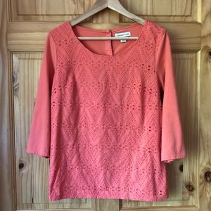 Coldwater Creek eyelet front button back top Sz M
